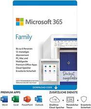 Microsoft Office 365 Family 6 Personen 1 Jahr Abo MS Office 365 Home DE EU 2021