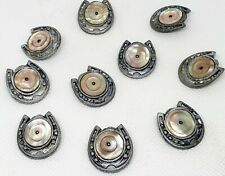 BOTTONI ANTICHI MADREPERLA E PELTRO VICTORIAN BUTTONS MOTHER OF PEARL PEWTERERY