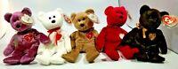 5 Ty Beanie Babies Valentino, Valentina, 1999, 2000, 2003 Signature Bear