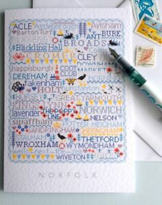 NORFOLK Large A5 Greetings-Letter Card Cross Stitch Sampler Design