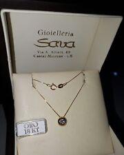 Collana girocollo veneziana e punto luce cipollina zircone in oro 750 18 kt new