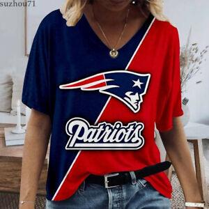 New England Patriots Women's V Neck Short Sleeve T Shirt Summer Casual Tee Tops