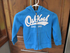 OshKosh Sweatshirt Boy 4T Blue White Hoodie LS Full Zip Pockets - Excellent