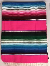 LARGE Mexican Sarape Saltillo Serapes Blanket Bed Cover 5' x 7' PINK