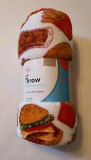Fast Food Throw Blanket Hamburger Fries Coke Plush Gift Soft Cozy 50x60 NEW
