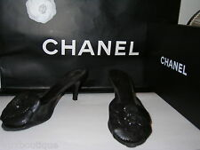 "CHANEL Leather Camellia SHOES Black Mules CC Logo Pumps 3"" Patent Heels 38 8 7.5"