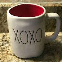Rae Dunn XOXO Valentine Mug LL BLACK Red Interior Hugs and Kisses Brand New
