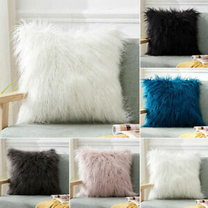 Long Plush Fluffy Shaggy Soft Pillow Throw Cover Sofa Cushion Case Pillowcase