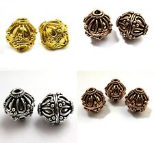 15MM 16MM ANTIQUE SILVER COPPER AND GOLD PLATED BALI BEAD B 3