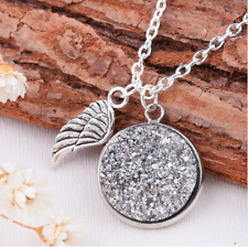 Womens pendant necklace charm wing silver 925 plated chain drusy quartz stone