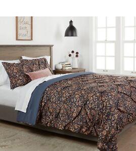 NIP Threshold Navy Floral Pinched Pleat King Comforter & Shams Set 3pc