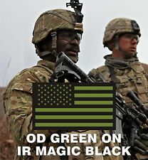 """FWD FACING USA OD GREEN IR FLAG solasX PATCH 3.5""""X2"""" WITH VELCRO® BRAND FASTENER"""