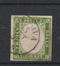 FRANCOBOLLI 1857 SARDEGNA 5 C. VERDE GIALLO GENOVA 13/10 Z/165