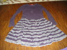 ONE KID ONEKID GIRLS SZ 6X PURPLE GRAY RUFFLED POLKA DOT DRESS