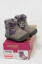 SURPRIZE BY STRIDE RITE INFANT BABY GRAY PURPLE SHOES BOOTS BOOTIES 3 NEW