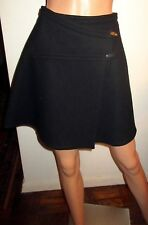 Claude Montana Black Wrap Mini Skirt 8 Wool A-Line Made in Italy IT 42 Superb!