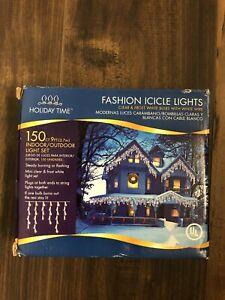 Clear Fashion  Icicle Lights New Indoor Outdoor 150 ct 9 Ft Long Holiday Time