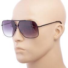 Classic Retro Mens Fashion Metal Pilot Vintage Designer Large Sunglasses Black