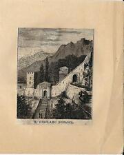 Stampa antica VERCURAGO San GIROLAMO SOMASCA Lecco 1874 Old antique print