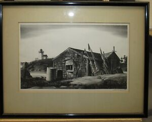 """STOW WENGENROTH RARE 1940 Maine LITHOGRAPH """"Along the Coast"""" LISTED ARTIST"""