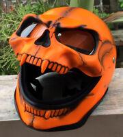 Motorcycle Helmet Skull Death Visor Flip Up Shield Ghost Rider Full Face Orange