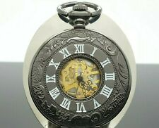 Pendant Steampunk Pocket Watch A1D072 Modern Black Skeleton Mechanical Hand-wind