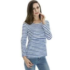 Womens Maternity Striped Nursing Breastfeeding Shirt Long Sleeves Top J4Q8
