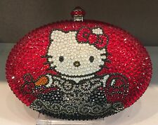 NIB Crystal Bag Clutch Hand Bag made w swarovski elements Oval Hello Kitty