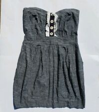 Womens WINDSOR Casual Party Dress GRAY Sexy Strapless Mini LARGE Sweetheart Neck
