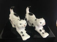 Pair of Quirky Kitsch vintage porcelain black and white cats Kittens