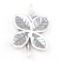 FOUR LEAF CLOVER Charm Pendant Irish Good LUCK 925 Sterling Silver 3D