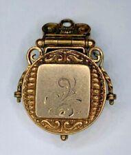 round no monogram unusual Etruscan Antique Victorian Gold Filled Fob Locket