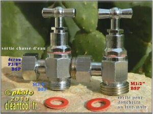 robinet 3 voies chasse d'eau WC douchette ablution hémorroïde lavement