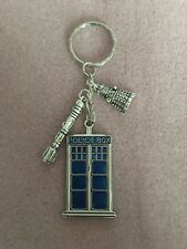 DR Who Large Police Box (50x 27mm) Keyring with sonic screwdriver & Dalek