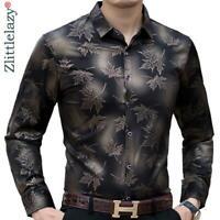 Moda Camisa Para Hombre de Vestir Mangas Largas Hojas de Arbol Ropa Fina NEW