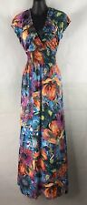 CAROLINE MORGAN Size 14 Bright Colourful Floral Flowers Maxi Summer Dress B1