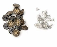 20 x 17mm Hammer on Denim Buttons Replacement Brass Studs Jeans Jacket Trousers
