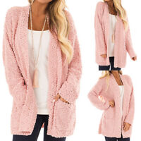Women's Vintage Long Sleeve Boyfriend Cardigan Pockets Fluffy Knitted Coat Tops