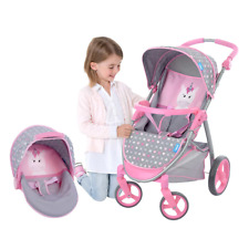 """2-In-1 Doll Stroller and Carrier Travel System Fits up to 18"""" Dolls Role Playing"""
