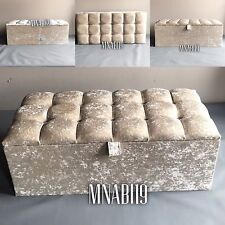40 INCH CREAM 10 DIAMOND OTTOMAN STORAGE BEDDING TOY BOX CHEST CRUSHED VELVET