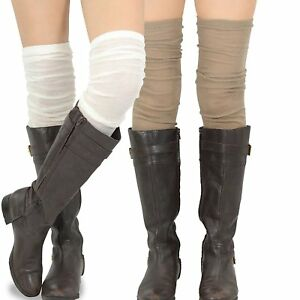 Teehee Women's Fashion Extra Long Cotton Thigh High Socks - 2 Pair Pack