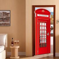 Door Fridge Sticker Fun London Telephone Box Phone Booth Mural Decals Decor Film