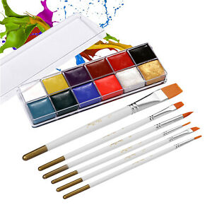 12 Colors Solid Oily Face Paint Pigment Greasepaint Kit with 6pcs F7Y3