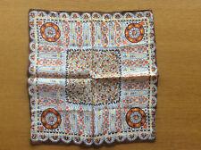 Vintage 100% Silk Ladies' Handkerchief / Pocket Square Brown Yellow, 1950s 1960s