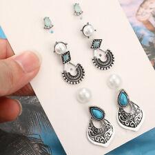 5 Pair Elegant Women Turquoise Pearl Ear Stud Fashion Earrings Jewelry Gift
