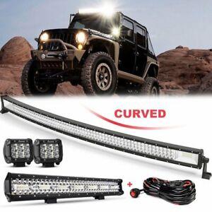 "For Ford Ranger 50"" Curved LED Light Bar Combo Upper Roof Windshield Mount + 23"""