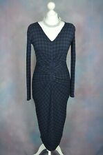 ISABEL DE PEDRO Blue/Black dogtooth ruched jersey bodycon dress UK 10