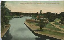 Looking Down from Locks ~ Bobcaygeon Kawartha Lakes ON Ontario Vintage Postcard