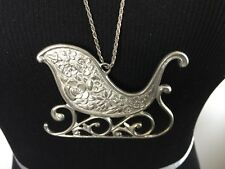 "Kirk Steiff Collection Lenox 1996 Pewter Sleigh Necklace with 15"" Chain"