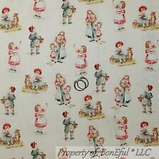 BonEful Fabric FQ Cotton Quilt VTG Antique Old Toile Boutique Doll Baby Girl Dog